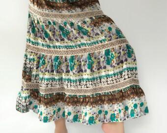 SK0109 bohemian Maxi Skirt for Beach,lady Summer ,bohemian maxi skirt,gypsy skirt/boho skirt/cotton skirt/festival skirt,