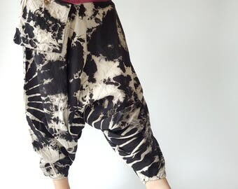 TD0027 Unisex Tie Dye Harem pants  Handmade pants, Thick Smock Waist Tie Dyed Low Crotch