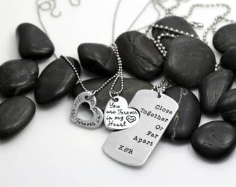 Close Together Or Far Apart You Are Forever In My Heart | Custom | Military Support | Deployment | Long Distance Dog Tag Set