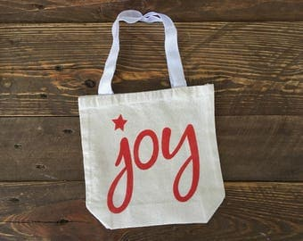 Joy - Canvas Tote Bag, 8 x 2.5 x 8, Natural