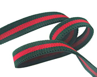Green Red Striped Gucci Style Rubber Elastic Ribbon Trim for DIY Fashion