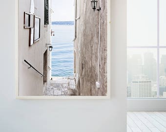 Croatia Affordable home decor, travel photography, Rovinj, Pastel, Water views, blue and white