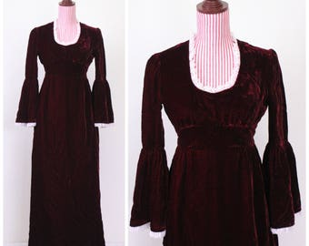 1960s VINTAGE Dress / Renaissance / Oxblood / Velvet / Maiden / Medieval / Maxi Dress / 60s