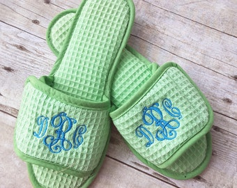 Lime Green Monogrammed Waffle Weave Slippers