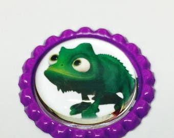 Pascal Bottlecap Pin Back Button/Keychain/Bracelet/Necklace/Retractable Badge Reel/Ring repurposed Disney Tangled Illustration