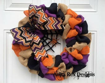 Halloween Burlap Wreath, Halloween Wreath, Orange Black Purple Burlap Wreath, Halloween Decor
