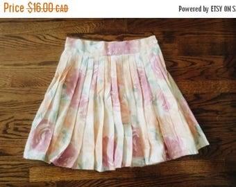 HELLO SUMMER SALE Vintage Floral Print Pleated High Waist Skirt