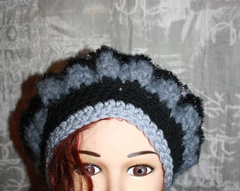 fancy beret, very warm, grey and black