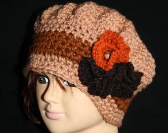 beret tones adorned with flowers