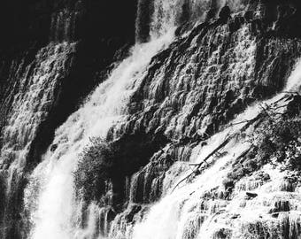 Waterfall photography, black and white photography, black and white waterfall, modern rustic, rustic decor, tennessee print, large wall art