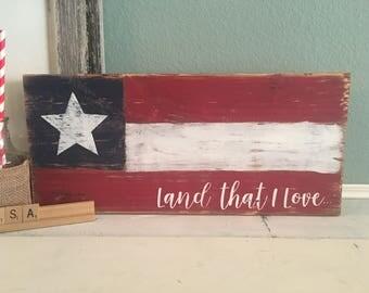 US Flag Sign   Land that I Love   Patriotic Sign   Fourth of July Decor   USA   Red White Blue   Rustic Patriotic Decor   Shelf Decor