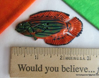 0211 - XL Orange and Green Fish Sewing Button, 2-7/8""