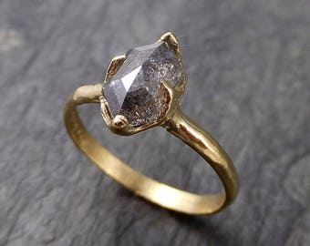 Fancy cut salt and pepper Diamond Solitaire Engagement 18k yellow Gold Wedding Ring Diamond Ring byAngeline 1051
