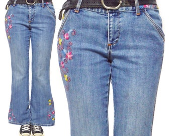 Vintage 90s Tommy Hilfiger Hippie Bell Bottoms Embroidered Flowers Blue Jeans Pants Bottoms