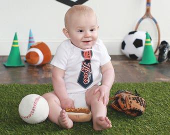 Detroit Tigers Tie Onesie- 18 Month Short Sleeve