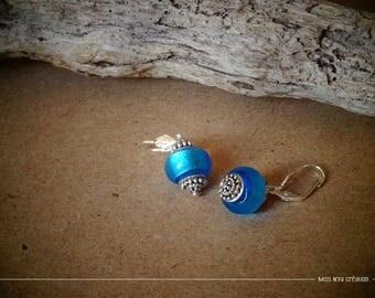 Ethnic earrings & glass beads Lampwork aqua blue & stud earring