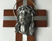 Unique Italian Crucifix Cherry Wood Metal Inlay Large Jesus Christ Head Sculpture Amazing Religious Gift