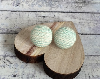 Silver Plated Button Earrings - Fabric Button Studs - Mint and White Random Stripes