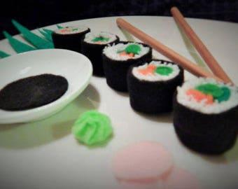 Felt Food Vegetarian Sushi Roll for Pretend Play
