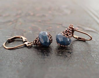 Rustic Dark Teal Earrings - Antiqued Copper Lever Backs and Czech Glass - Casual Boutique Jewelry