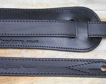GS25 Black Leather Guitar Strap, full one inch wide,non-scratch, gift for guitarist, present for guitar, hand-crafted