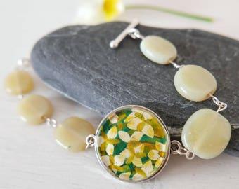Green Bracelet, Floral Bracelet, Summer Bracelet, Beige Bracelet, Floral Art Bracelet, Lily Bracelet, Floral Jewellery, Art Jewellery