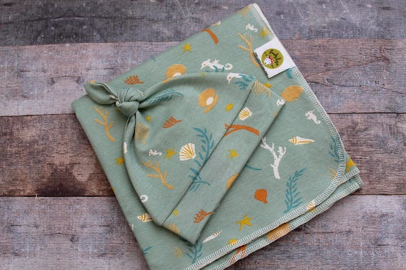Organic Baby Layette.  Baby Going Home Set. Hospital Set.  Seafoam Green. Sage.  Hat and Swaddle Blanket.