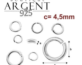 X 15 open rings Sterling Silver 925/1000 with 4.55 X 0.70 mm