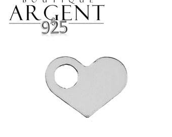 Silver charm heart 9.4 X 7.1 mm with hole