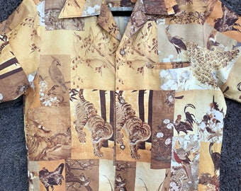 1970's Tiger and Pheasant Print Hawaiian Shirt