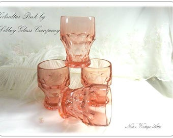 Vintage On The Rocks Glass Set of 5, in Gibraltar Pink by Libbey Glass Company, Heavy Pressed