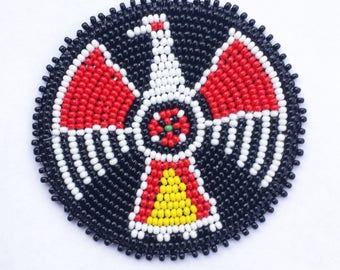2 . 5 inch Thunderbird BLACK Beaded Rosette