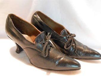 Edwardian Black Calfskin Tie Shoes, c, 1910