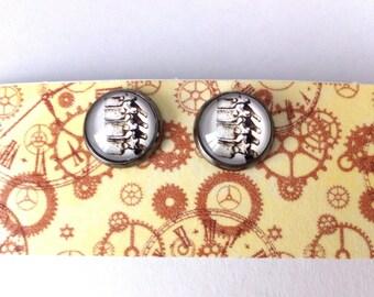 The vertebrae bone cabochon earrings