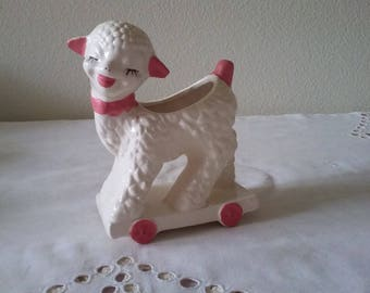 "Pink and white ceramic lamb planter, ""Princess Planter"""