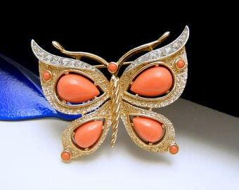 Crown Trifari Butterfly Brooch 1960s Faux Coral Lucite Cabochons Rhinestones