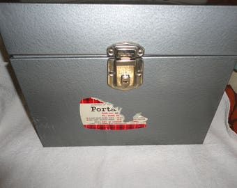 Vintage Gray Porta-File Storage Box Baked Enamel Finish Metal Hamilton Skotch