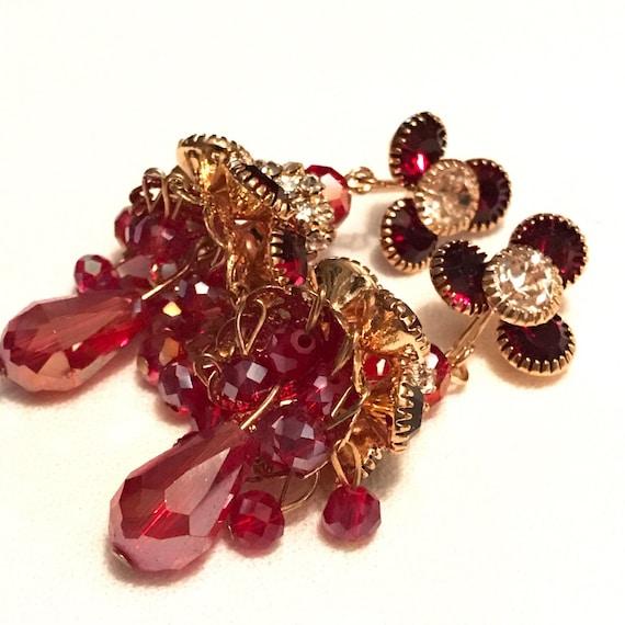 Stunningly Elegant Red Rhinestone & Shimmery Cranberry Crystal Chandelier Dangling Earrings