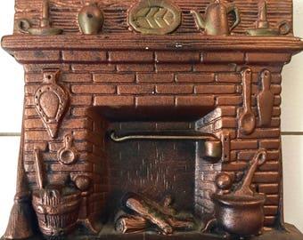 Vintage Key Hook Fireside   Fireplace   Kitchen Hearth Copper-Colored Plaster of Paris Key Storage   Key Display   Home Decor