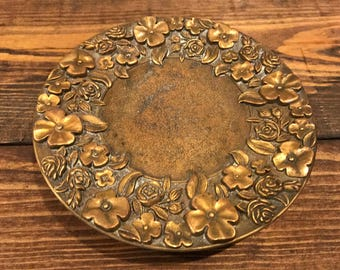 Brass Candle plate. Candle holder. Floral.