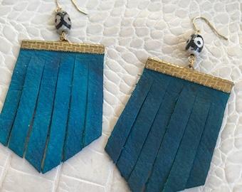 BLUE // fringe leather earrings