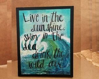 Live in the Sunshine, Wood Mounted Art Print, Ralph Waldo Emerson quote, Coastal Art Decor, Art Block, Mixed Media Desk Art, Ocean Love