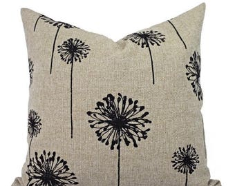 15% OFF SALE Two Pillow Covers - Black and Cream Dandelion Pillows - Dandelion Pillow Cover - Black Pillow Cover - Throw Pillow Cushion Cove