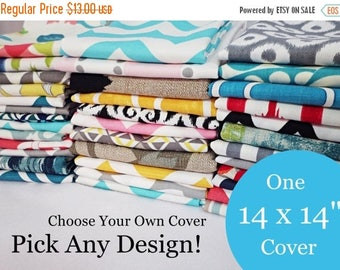 15% OFF SALE 14 x 14 Pillow Cover - One Pillow Cover - Choose Your Own Design - Single Pillow Cover - Accent Pillow - Decorative Pillow - Th