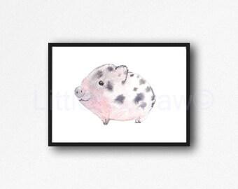 Pig Print Cuddly Little Piglet Pig Watercolor Painting Print Pink Piglet Piggy Animal Art Print Living Room Decor Wall Decor Wall Art