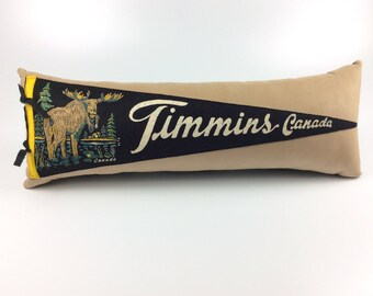 Canada Moose Vintage Pennant Pillow featuring Timmins