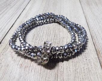 silver tone multi strand stretch beaded bracelet