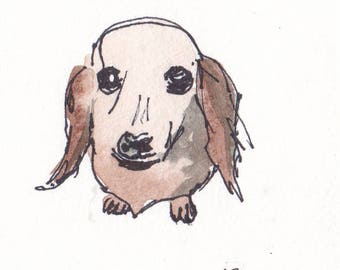Original Watercolor Dachshund Dog Painting