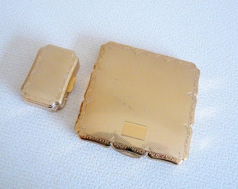 Vintage Stratton Gold Tone Powder Compact with matching Pill Box - Beautiful  Etched Design Collectable Vanity