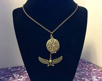 Antique Bronze Locket with Skull Crossbones & Wings Necklace
